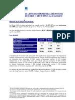 Analyse de Levolution Trimestrielle Des Marches Du Fixe Du Mobile Et de Linternet Au 30 Juin 2010