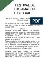 1er Festival de Teatro Amateur Siglo Xxi