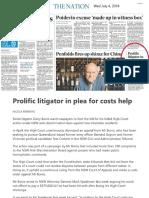 20180704 Australian Prolific Litigator in Plea