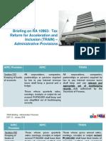 BIR TRAIN Administrative Provisions