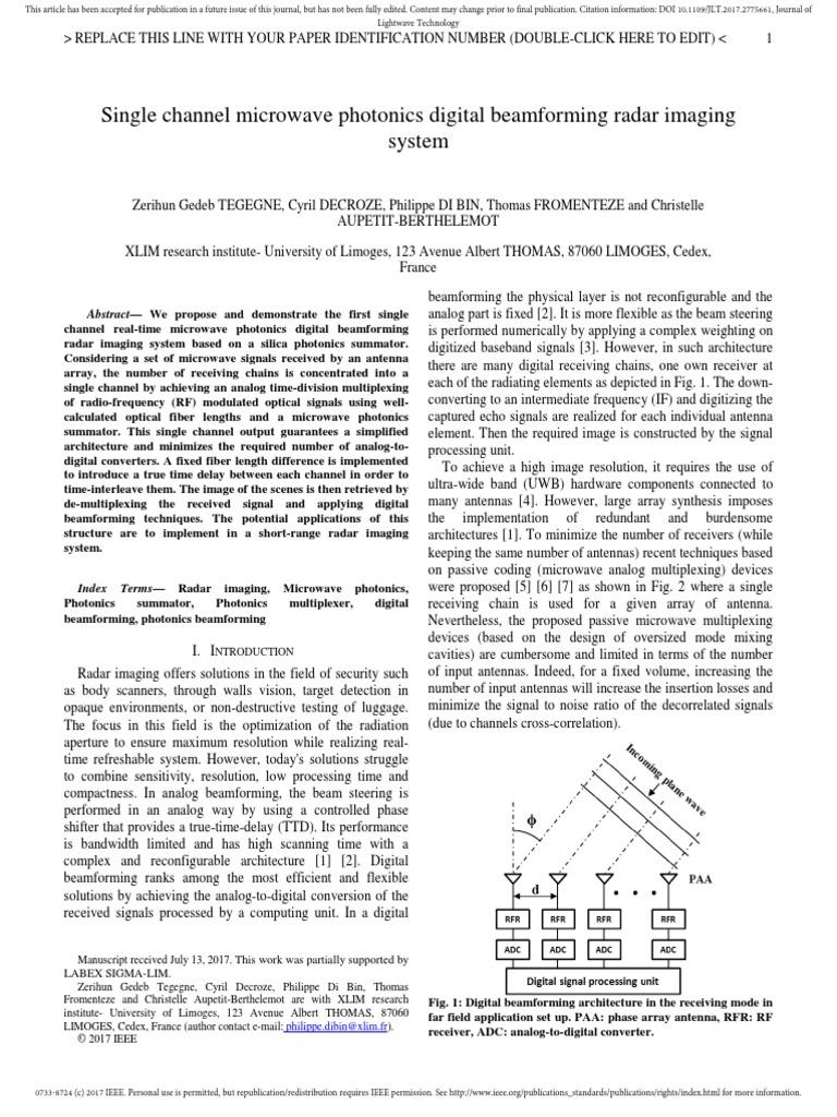 Single Channel Microwave Photonics Digital Beamforming Radar Imaging