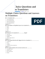 Multiple Choice Questions and Answers on Transistors