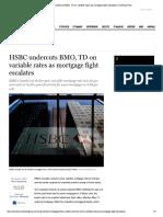 HSBC Undercuts BMO, TD on Variable Rate..