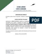 CONSTANCIA de TRABAJO Estudio Juridico Flores y Asociados