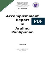 A.p Accomplishment Report in a.p.