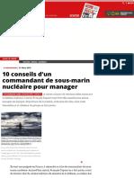 10 conseils d'un commandant de sous-marin nucléaire pour manager - Économie, Les plus de la rédactio