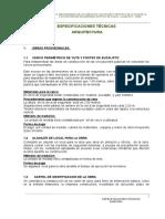 Expecificaciones Tecnicas Arquityectura y Sanitarias