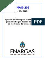 NAG-205 Aparato Eléctrico Para La Detección de Gas Natural o Gas Licuado de Petróleo en Los Locales de Uso Doméstico