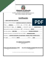 Certificado de Octavo Norys Martinez Martinez