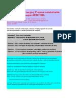 AFRC 1993. Cálculo de Necesidades de Energía y Proteína Metabolizable