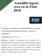 24-01-2018 Celebra Astudillo Logros de Guerrero en La Fitur España 2018.