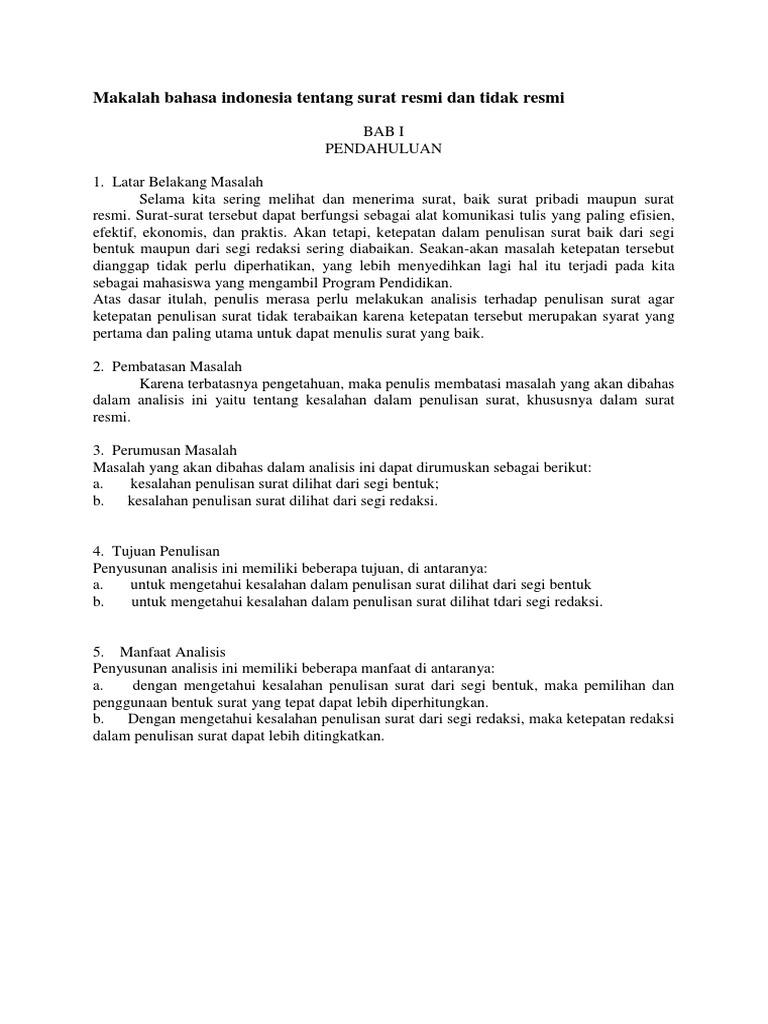 Makalah Bahasa Indonesia Tentang Surat Resmi Dan Tidak Resmi