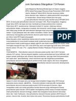 Pertumbuhan Ekonomi Sumatera Ditargetkan 7,9 Persen