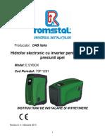 HIDROFOR DAB - E.syboX-Instalare,Intretinere