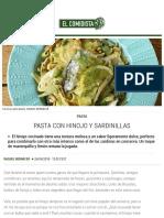 Pasta con hinojo y sardinillas | Recetas El Comidista EL PAÍS