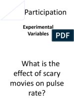 Oral Participation on Experimental Variables