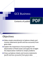GCE Business A2 Contents of Published Accounts