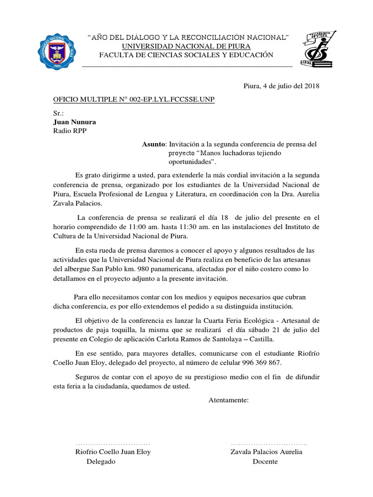 3bb96160027e0 Oficio invitación a Conferencia de Prensa Rpp