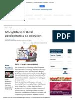 KAS Syllabus for Rural Development & Co-operation - Careerindia