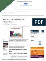 KPSC KAS 2013 Syllabus for History Exam - Careerindia