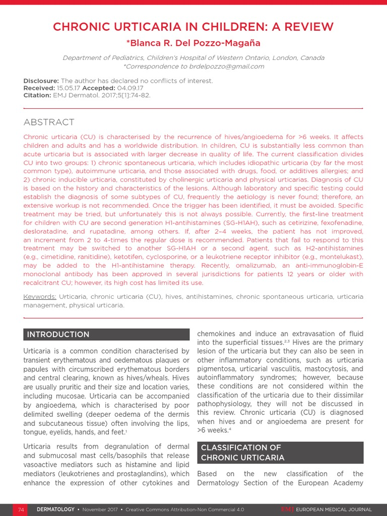 Chronic Urticaria in Children a Review | Allergy | Diseases