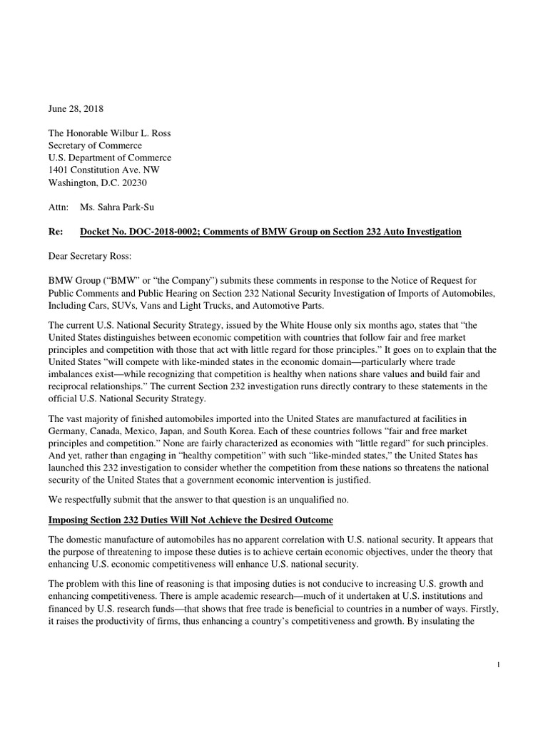 BMW Group letter to the U S  Department of Commerce | Exports | Tariff