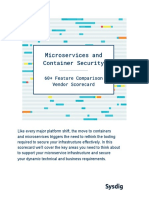 Microservices and Container Security Feature Comparison Vendor Scorecard