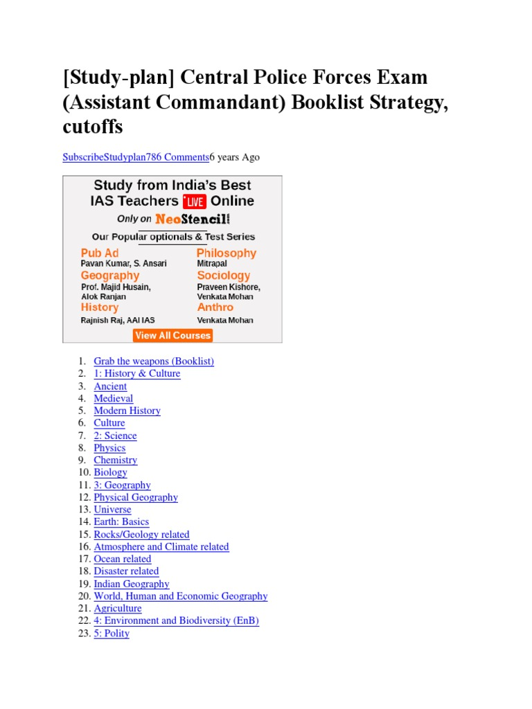Central Police Forces Exam (Assistant Commandant) Booklist Strategy