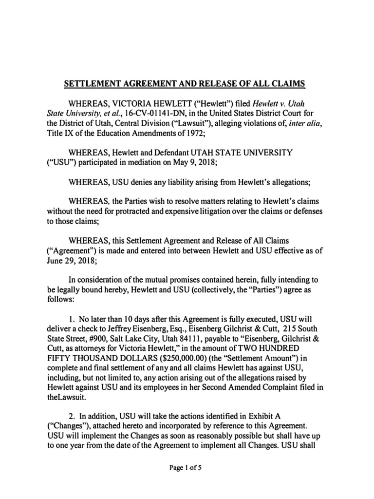 Victoria Hewlett V Usu Settlement Agreement And Release 062718
