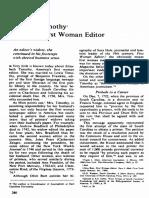 Elizabeth Timothy America's First Woman Editor