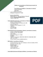 Directorio de Universidades Con Licenciatura en Historia CDMX