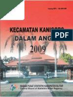 Kecamatan Kanigoro Dalam Angka Tahun 2009 Kabupaten Blitar