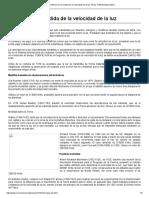 Historia de La Medida de La Velocidad de La Luz. Fisica. Rafael Barzanallana