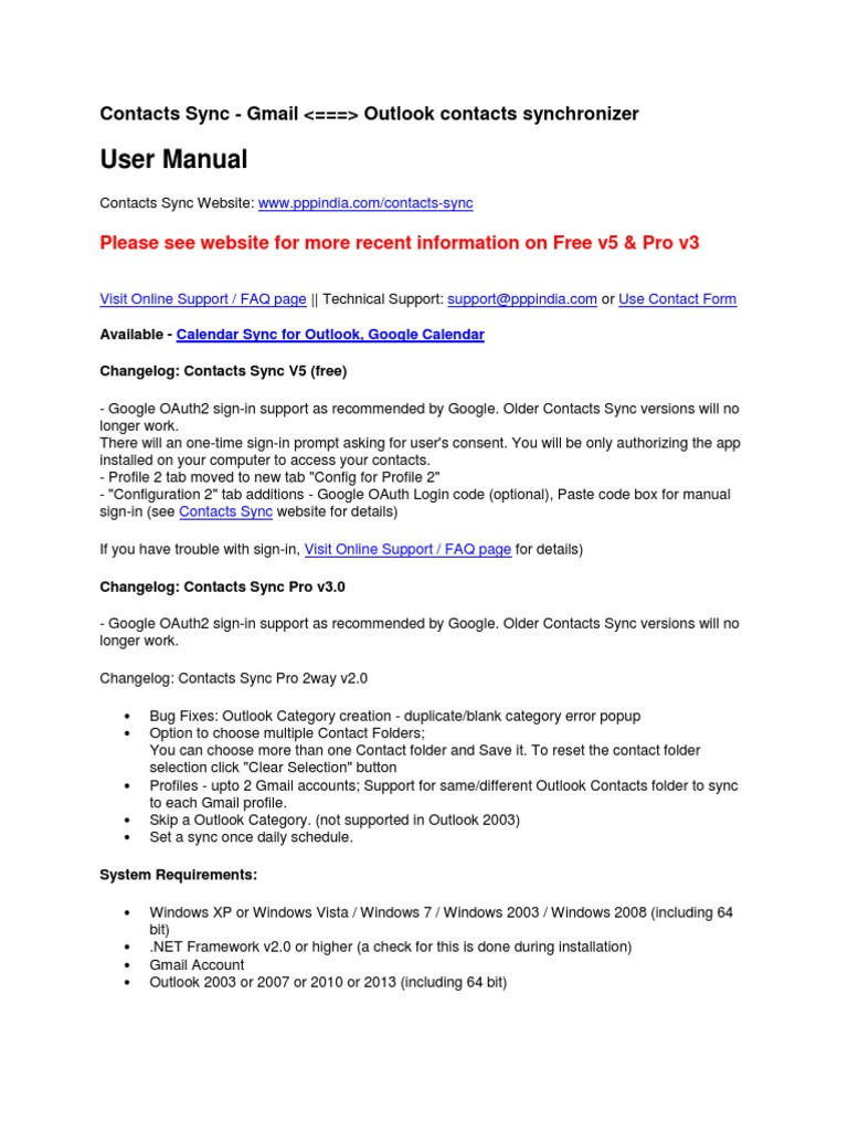 Contacts Sync User Manual | Microsoft Outlook | Gmail