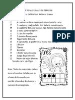Lista de Materiales de Tercer b