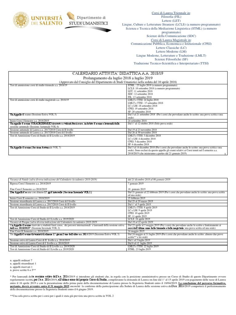 Calendario Accademico Unisalento.Calendario Didattico Unico Dipartimento Studi Umanistici