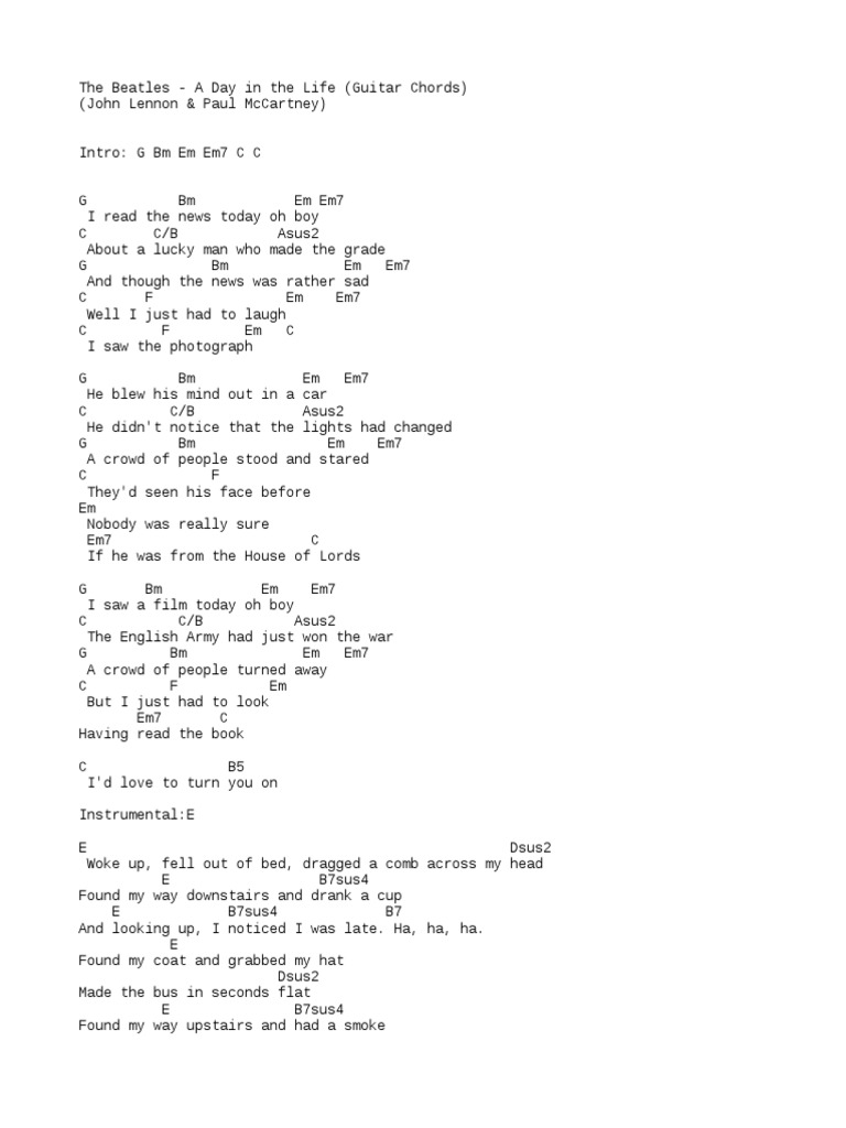 Chords The Beatles A Day in The Life   Pop Songs   British Rock Songs