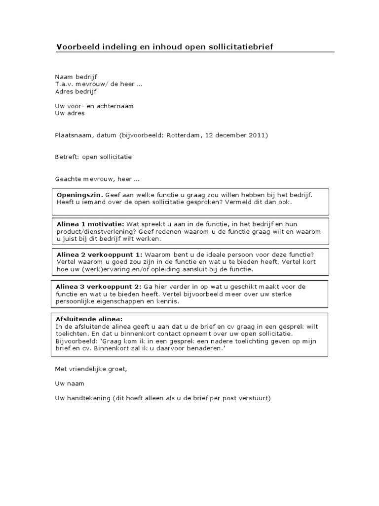 uw open sollicitatie Voorbeeld Indeling Open Sollicitatiebrief uw open sollicitatie