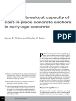 Concrete Breakout Capacity of Cast-In-place Concrete Anchors in Early-Age Concrete