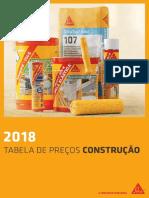 Sika - Tabela de Preços Construção 2018