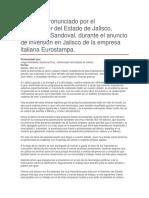 Anuncio de Inversión en Jalisco de La Empresa Italiana Eurostampa