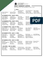 July 7, 2018 Yahrzeit List