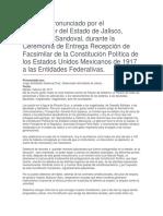 Ceremonia de Entrega Recepción de Facsimilar de La Constitución Política de Los Estados Unidos Mexicanos de 1917 a Las Entidades Federativas