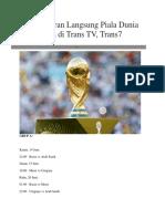 Jadwal Siaran Langsung Piala Dunia 2018 Rusia Di Trans TV