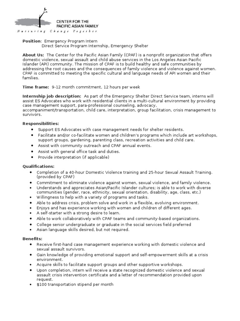es internship job description spring 0310 domestic violence violence