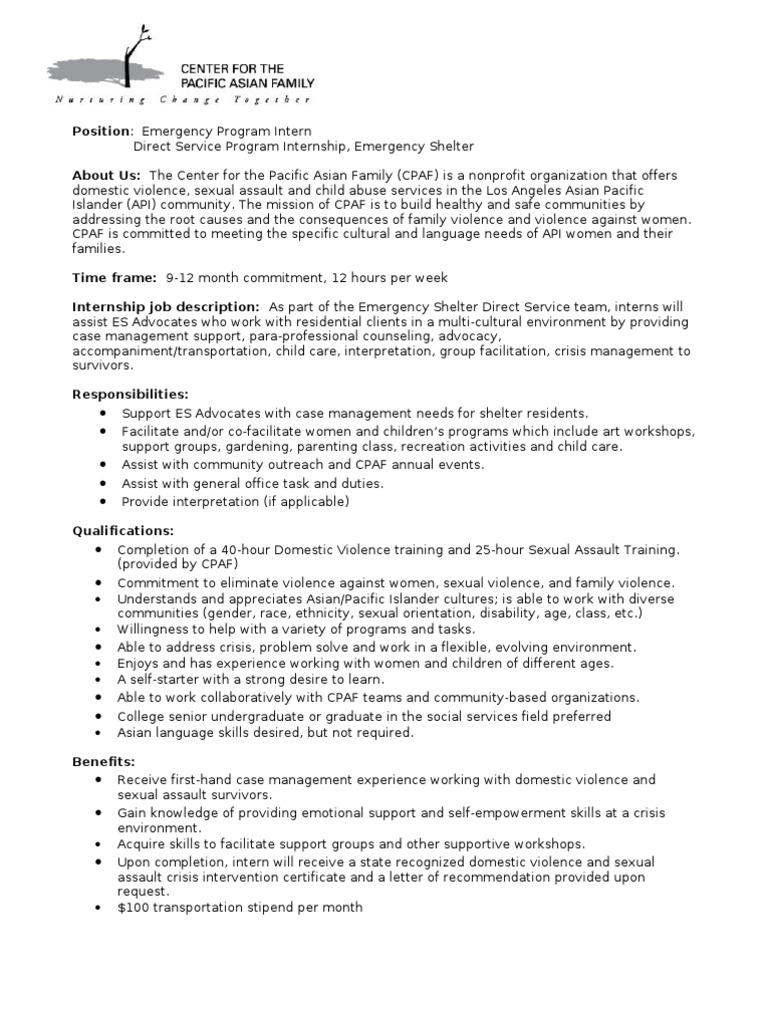 es internship job description spring 0310 domestic violence violence - Child Advocate Job Description