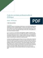 Code Conduite Professionnelle Ethique