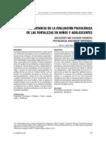 Importancia de La Evaluación Psicológica de Las Fortalezas en Niños y Adolescentes