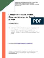Gallego, Julian (2005). Campesinos en La Ciudad. Rasgos Aldeanos de La Polis Griega