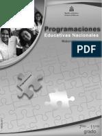 Programaciones curriculares de 7mo a 11vo grado Matematicas - Honduras